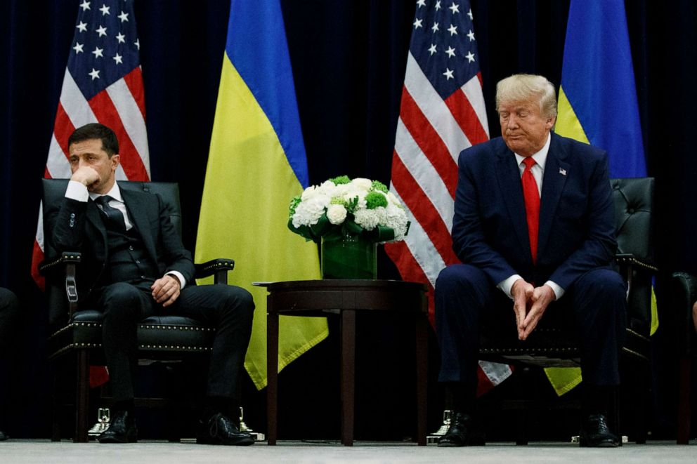 PHOTO: President Donald Trump meets with Ukrainian President Volodymyr Zelenskiy at the InterContinental Barclay New York hotel during the United Nations General Assembly in New York, Sept. 25, 2019.