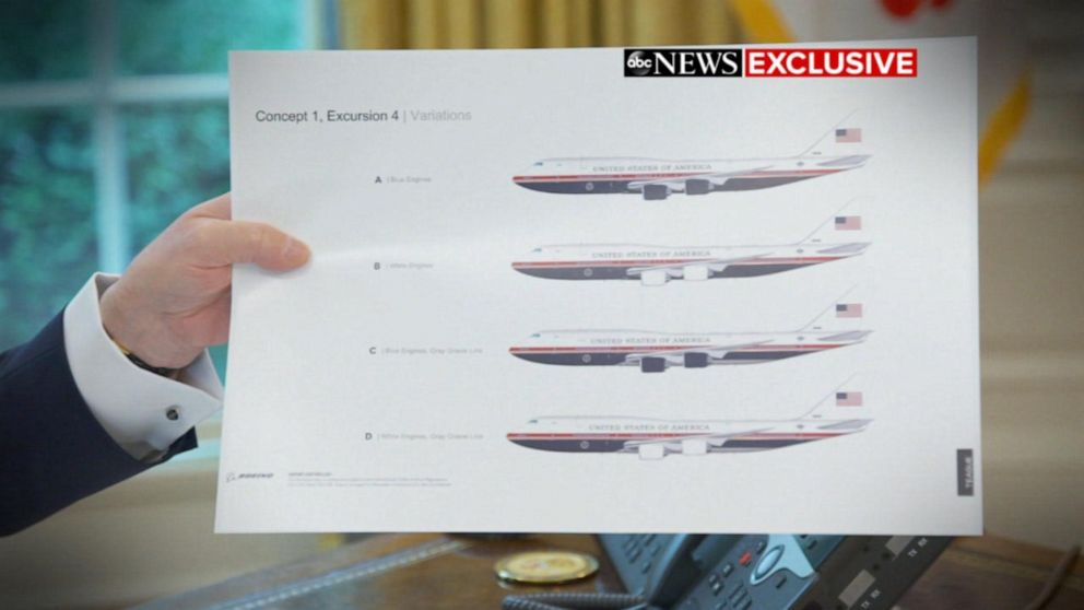 PHOTO: Donald Trump holds up pictures of the new Air Force One designs.
