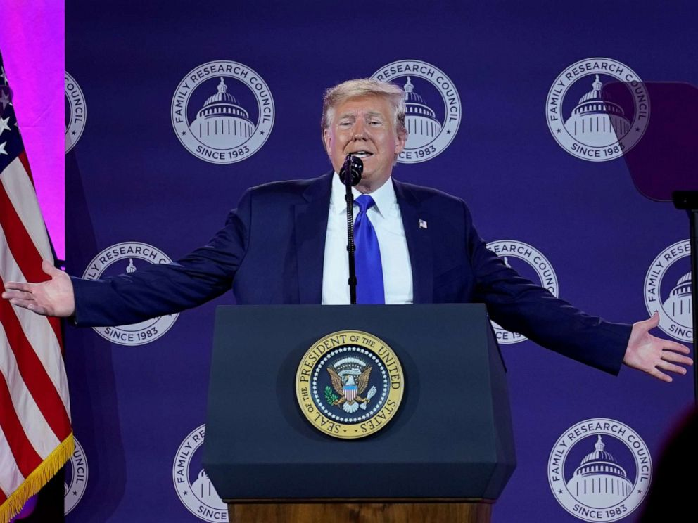 PHOTO: President Donald Trump addresses conservative activists at the Family Research Councils annual gala in Washington, Oct. 12, 2019.