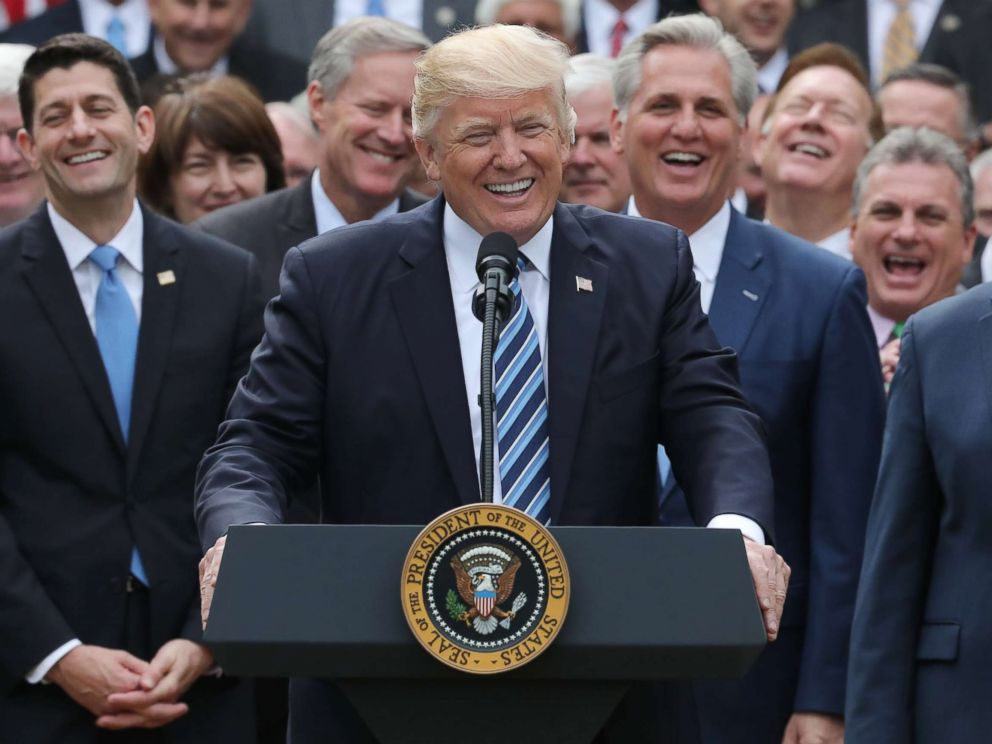 PHOTO: President Donald Trump celebrates with Congressional Republicans in the Rose Garden of the White House.