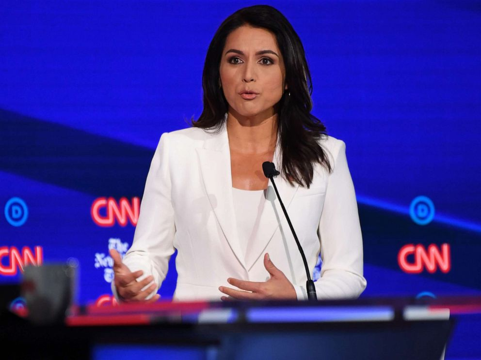 PHOTO: Democratic presidential hopeful Tulsi Gabbard speaks during the fourth Democratic primary debate of the 2020 presidential campaign season in Westerville, Ohio on Oct. 15, 2019.