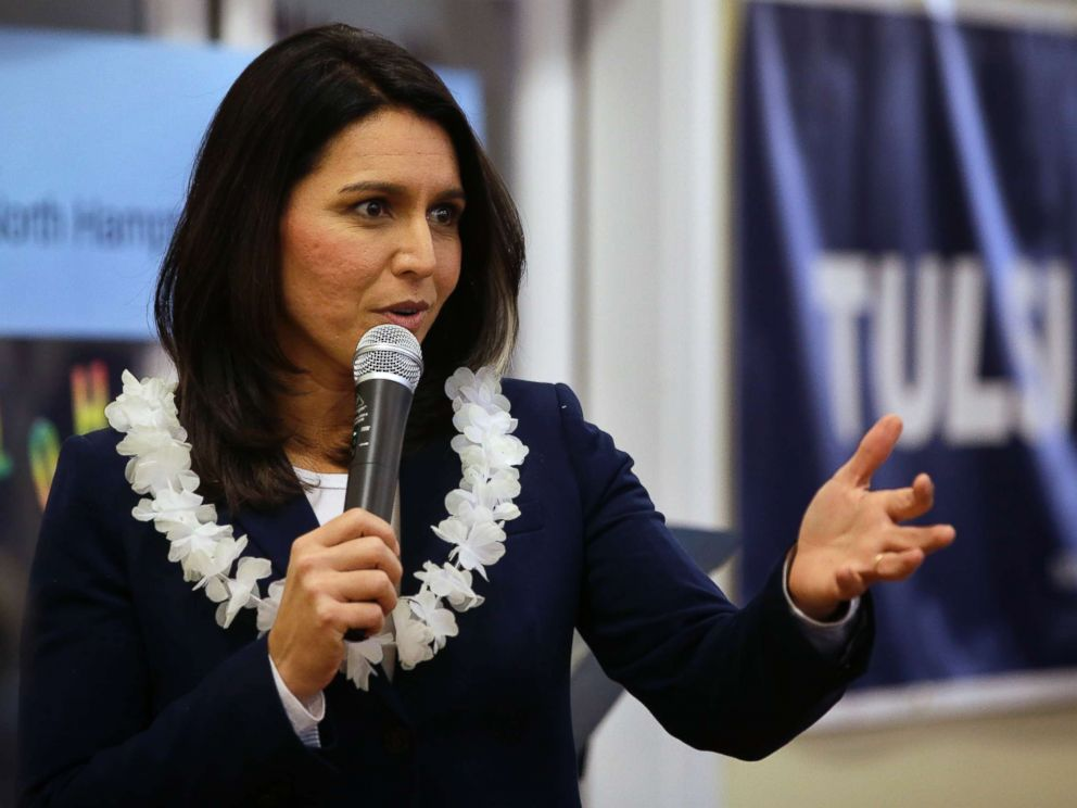 PHOTO: Presidential hopeful U.S. Rep. Tulsi Gabbard, D-Hawaii, addresses an audience during a meet and greet, Sunday, Feb. 17, 2019, in North Hampton, N.H.