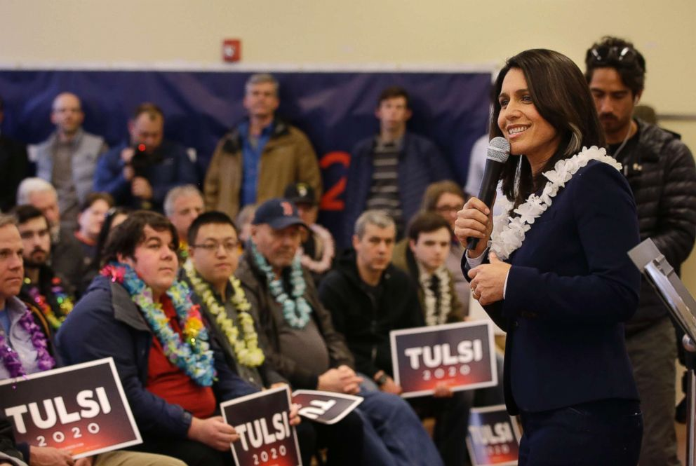 PHOTO: Presidential hopeful U.S. Rep. Tulsi Gabbard, D-Hawaii, addresses an audience during a meet and greet, Feb. 17, 2019, in North Hampton, N.H.