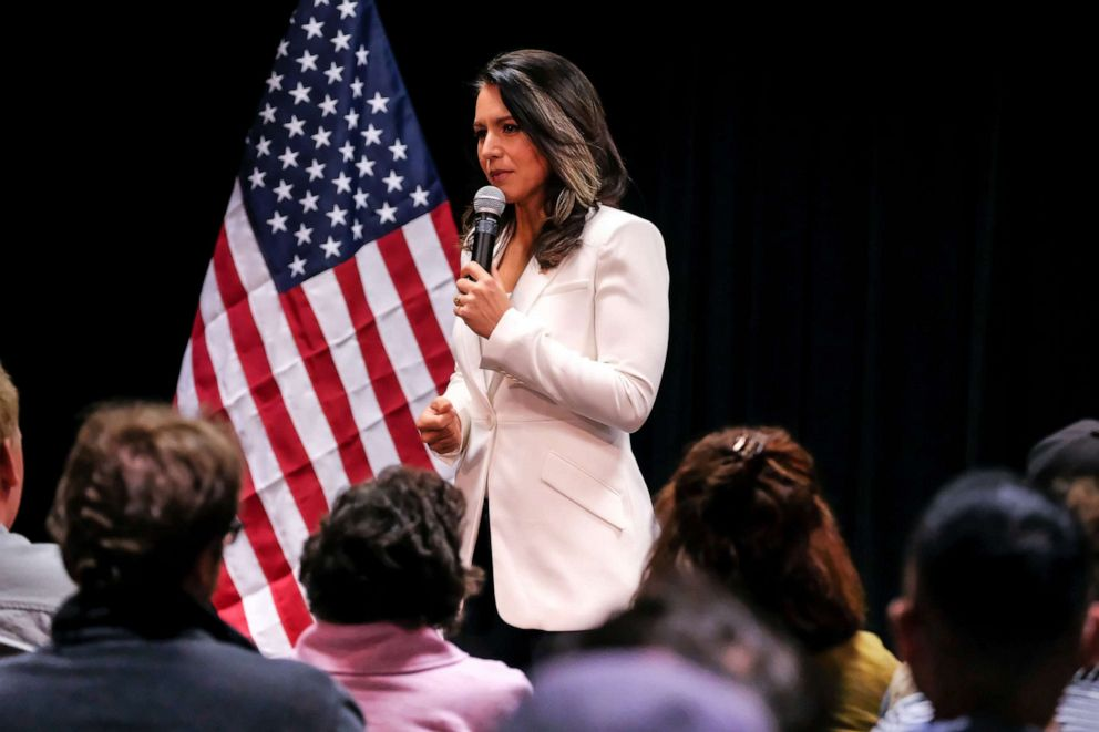 PHOTO: Democratic Presidential Candidate and Hawaii Congresswoman Tulsi Gabbard seen speaking during her political campaign at in Nashua, N.H. on Oct. 1, 2019.