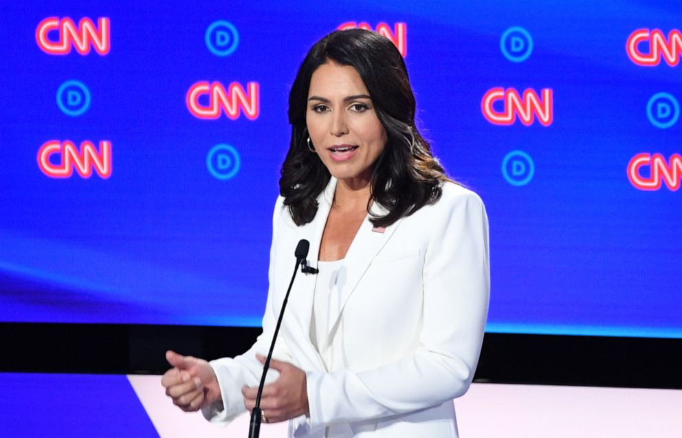 PHOTO: Democratic presidential hopeful US Representative for Hawaiis 2nd congressional district Tulsi Gabbard speaks during the second round of the second Democratic primary debate of the 2020 presidential campaign season hosted by CNN.