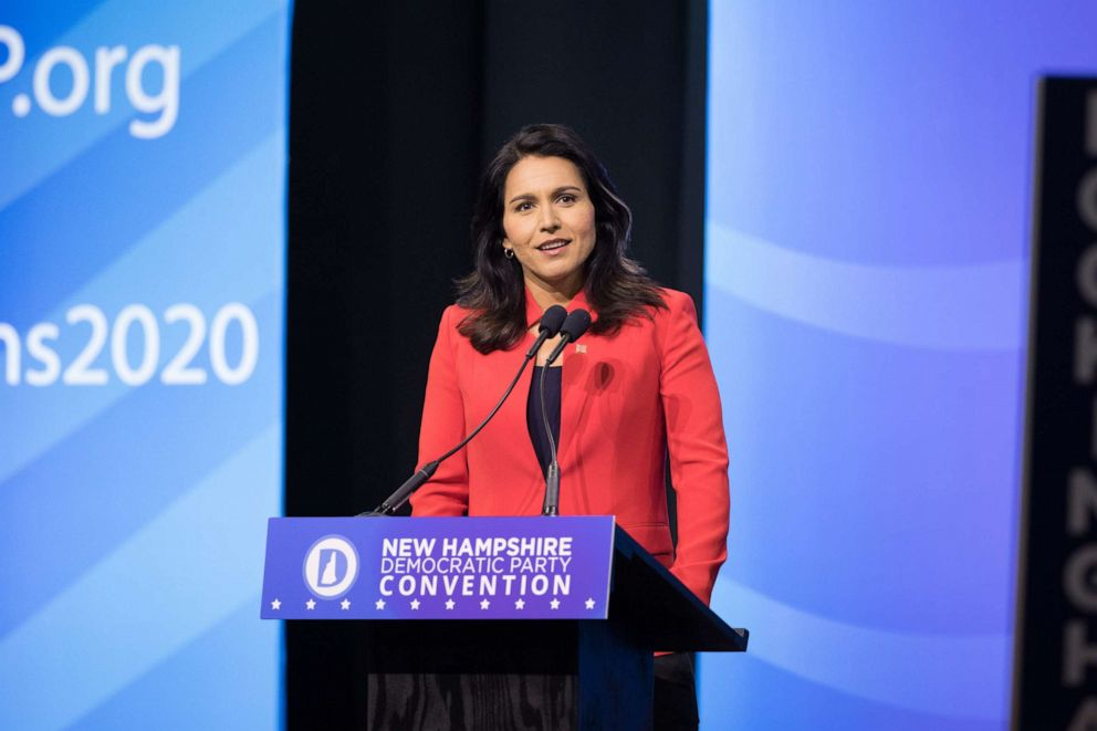 PHOTO: Democratic presidential candidate Rep. Tulsi Gabbard (D-HI) speaks during the New Hampshire Democratic Party Convention at the SNHU Arena on September 7, 2019 in Manchester, New Hampshire.