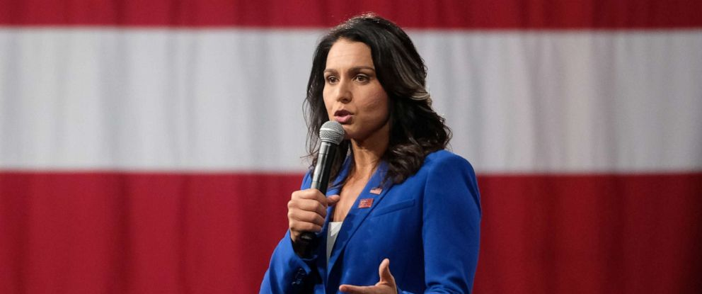 PHOTO: Representative Tulsi Gabbard, a Democrat from Hawaii and 2020 presidential candidate, speaks during the Everytown for Gun Safety Presidential Gun Sense Forum, in Des Moines Iowa, U.S., on Saturday, Aug. 10, 2019.