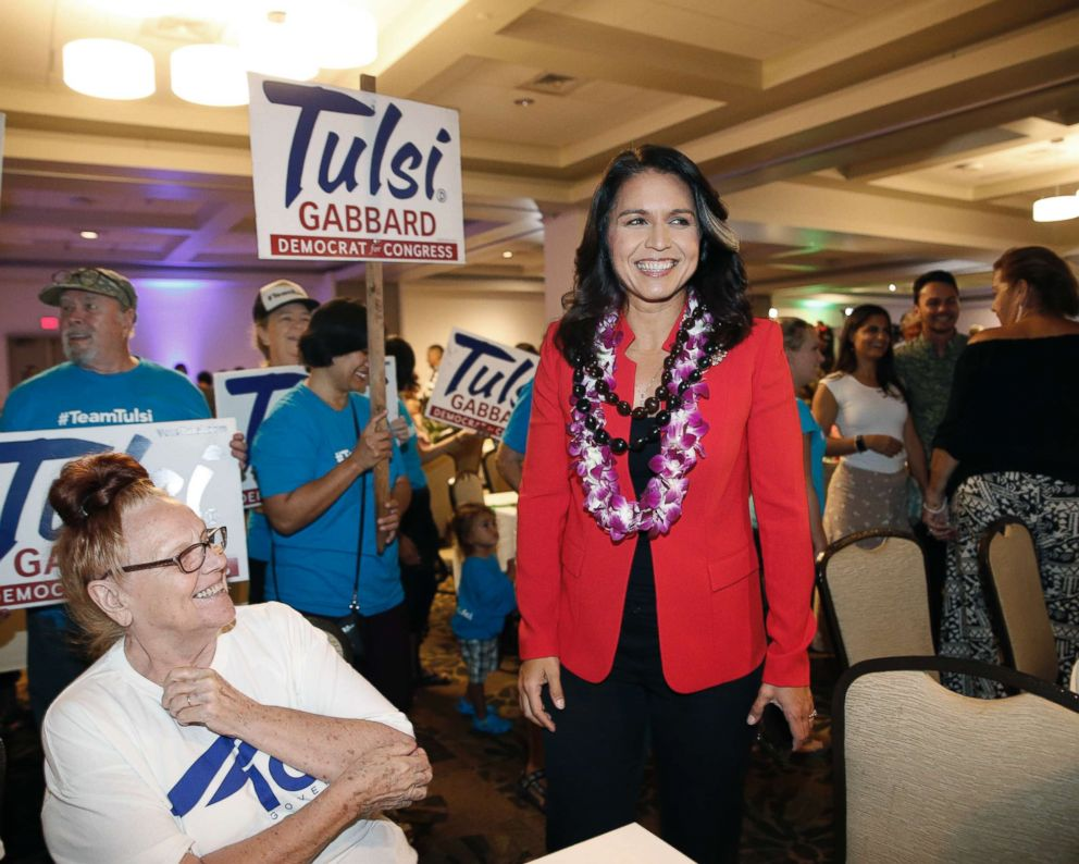 PHOTO: Rep. Tulsi Gabbard, D-Hawaii, greets supporters, Nov. 6, 2018, in Honolulu.