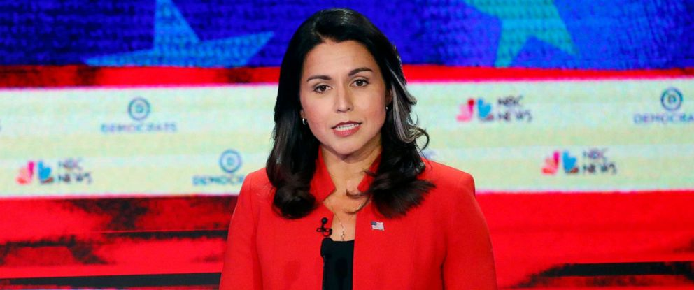 PHOTO: Tulsi Gabbard participates in the first Democratic primary debate hosted by NBC News at the Adrienne Arsht Center for the Performing Arts in Miami, Florida, June 26, 2019.
