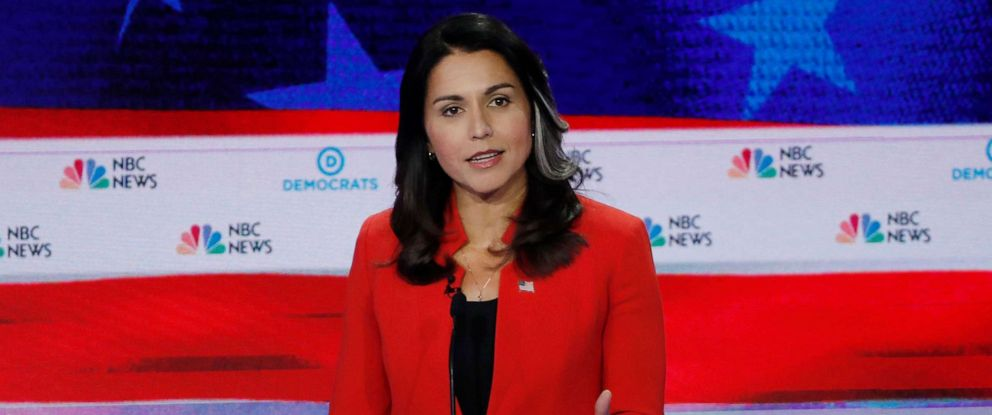 PHOTO: Rep. Tulsi Gabbard speaks at the first U.S. 2020 presidential election Democratic candidates debate in Miami, June 26, 2019.