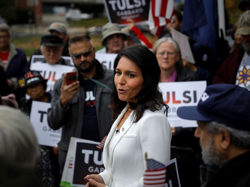 PHOTO: Democratic Presidential candidate Tulsi Gabbard greets supporters after filing her declaration of candidacy papers to appear on the 2020 New Hampshire primary election ballot at the State House in Concord, New Hampshire, Nov. 5, 2019.