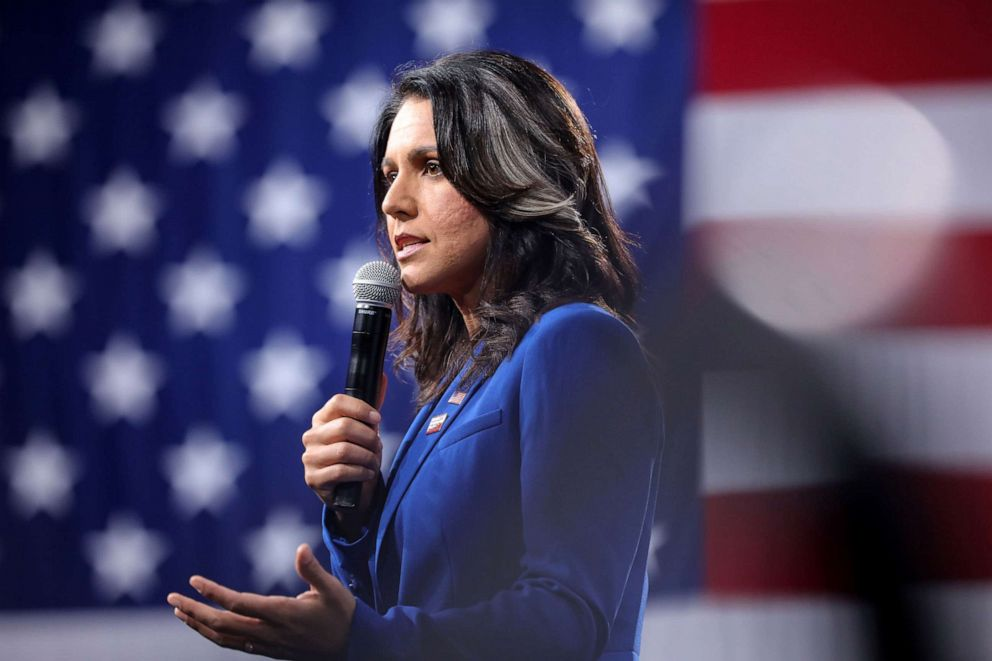 PHOTO: 2020 Democratic presidential candidate and Rep. Tulsi Gabbard speaks at an event in Des Moines, Iowa, Aug. 10, 2019.