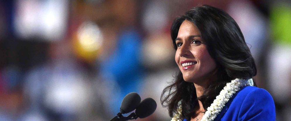 PHOTO: Representative Tulsi Gabbard speaks during Day 2 of the Democratic National Convention in Philadelphia, July 26, 2016.