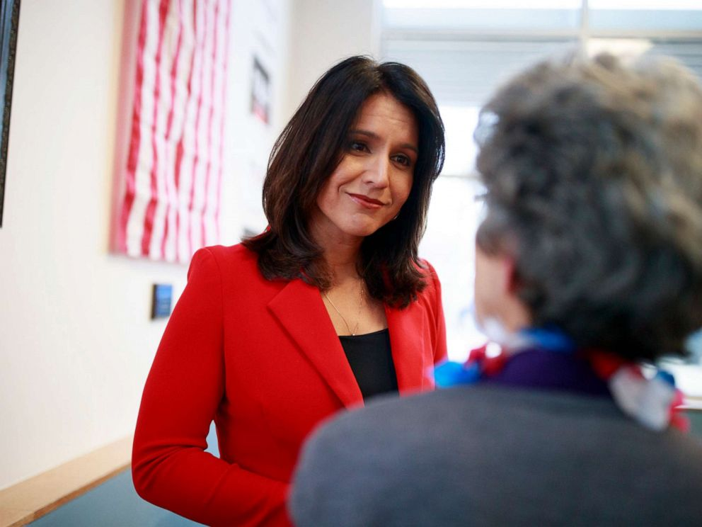 PHOTO: Democratic presidential candidate Tulsi Gabbard speaks to veterans during a campaign rally, April 16, 2019, in Iowa City, Iowa.