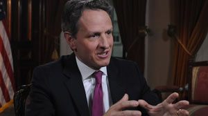 PHOTO:Timothy Geithner on This Week with Christiane Amanpour
