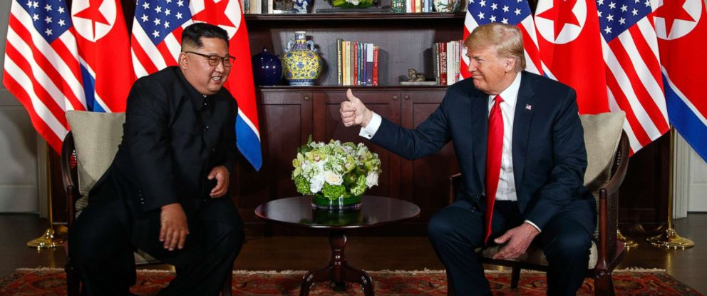 PHOTO: North Korean leader Kim Jong Un meets with President Donald Trump during their historic summit on Sentosa Island, June 12, 2018, in Singapore.