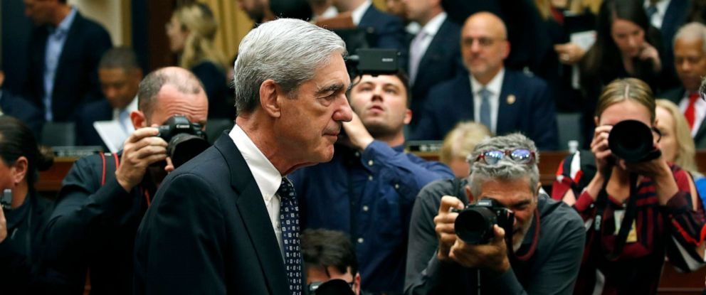 PHOTO: Former special counsel Robert Mueller arrives to testify before the House Judiciary Committee hearing, about his report on Russian interference in the 2016 presidential election, on Capitol Hill, July 24, 2019, in Washington.