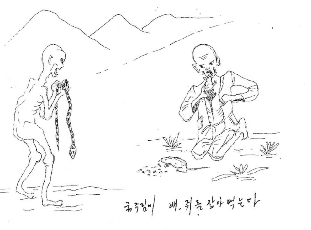 PHOTO: Former North Korean prisoners described scenes of torture and starvation, depicted in illustrations that appeared in a 2014 United Nations Human Rights Council report.
