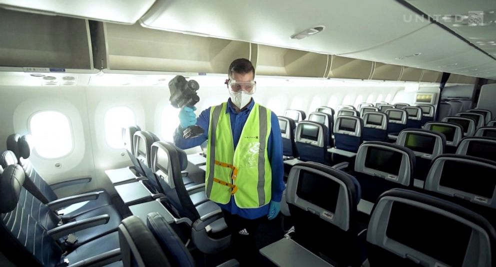 PHOTO: United says it will also use electrostatic sprayers every seven days to refresh and fortify the protective layer from the NovaRover.