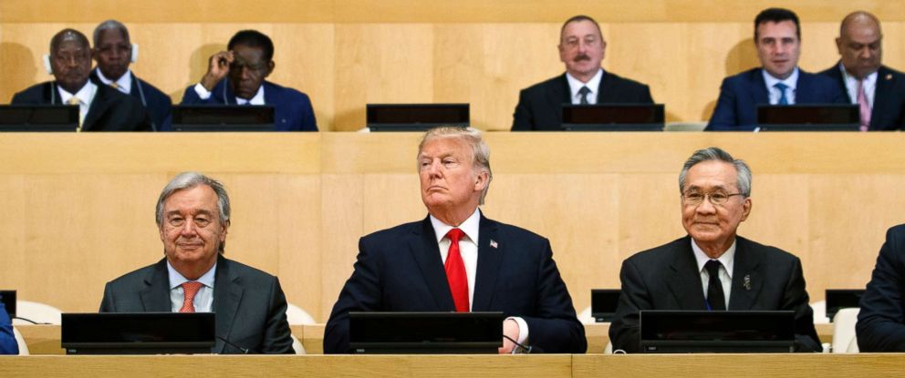 """PHOTO: President Donald Trump participates in a photo before the beginning of the """"Reforming the United Nations: Management, Security, and Development"""" meeting during the United Nations General Assembly, Sept. 18, 2017, in New York."""