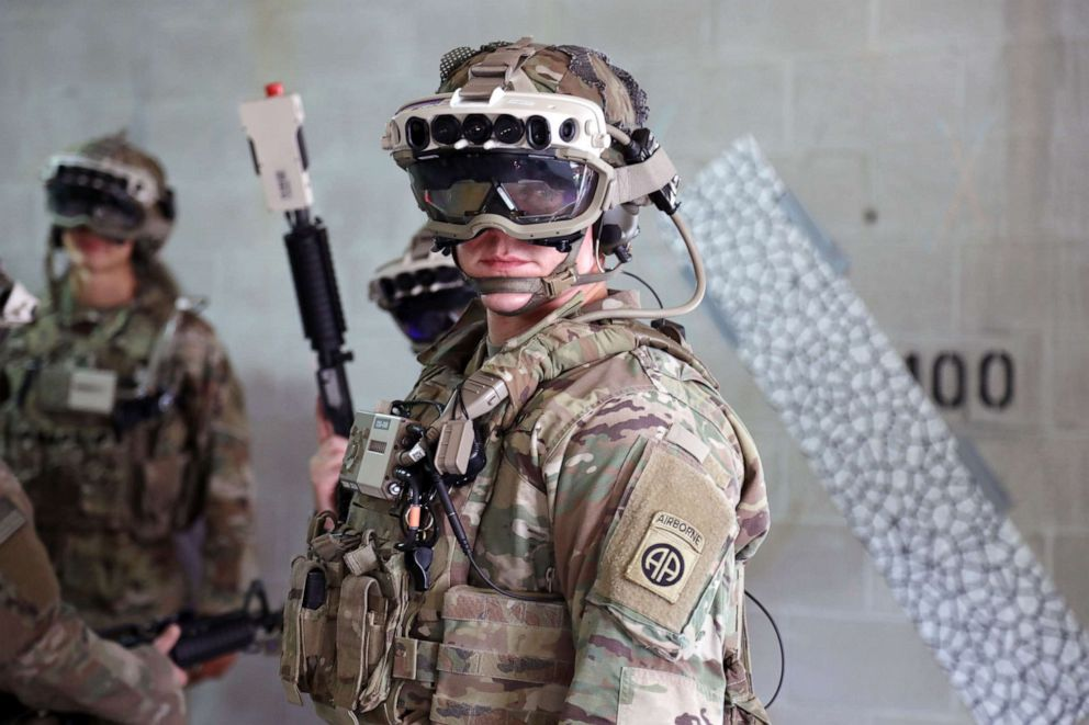 PHOTO: Soldiers from the 82nd Airborne Division use the latest prototype of the Integrated Visual Augmentation System (IVAS) during training at Fort Pickett, Va.
