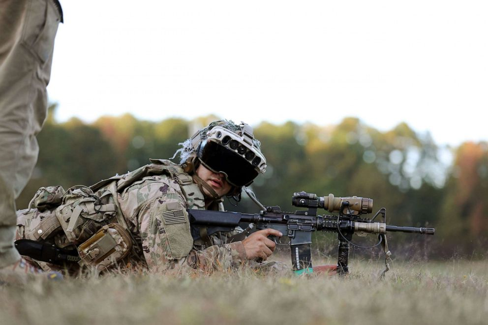 PHOTO: A soldiers from the 82nd Airborne Division uses the latest prototype of the Integrated Visual Augmentation System (IVAS) during training at Fort Pickett, Va.