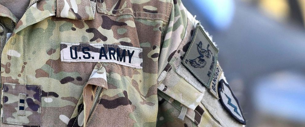 PHOTO: The sleeve insignia and uniform of an American soldier is seen at the Williamson airfied in the Shoalwater Bay Training Area as part of Battle Group Pegasus, July 12, 2017, in Rockhampton, Australia.