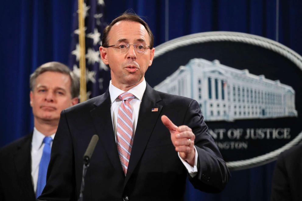Deputy Attorney General Rod Rosenstein speaks during a news conference at the Department of Justice in Washington, Dec. 20, 2018.