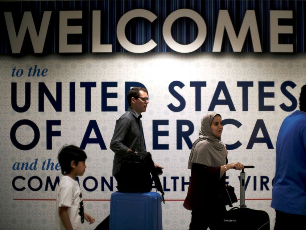 PHOTO: International passengers arrive at Washington Dulles International Airport after the Supreme Court granted parts of the Trump administrations request to put its travel ban into effect pending further judicial review, Dulles, Va., June 26, 2017.