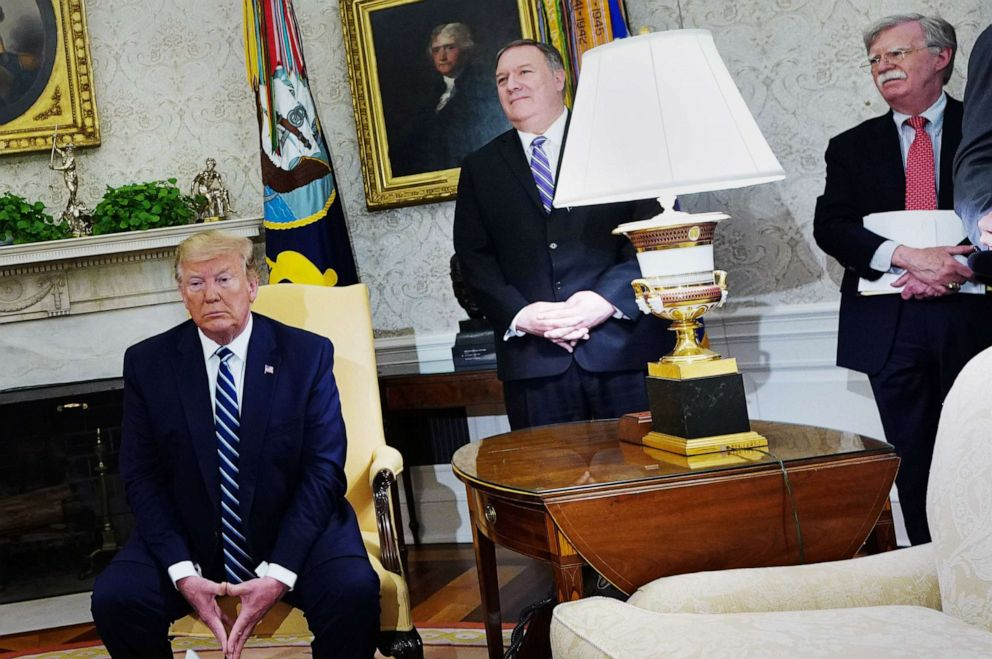 PHOTO: President Donald Trump, Secretary of State Mike Pompeo, and National Security Advisor John Bolton participate in a bilateral meeting with Canadas Prime Minister Justin Trudeau in the Oval Office, June 20, 2019.