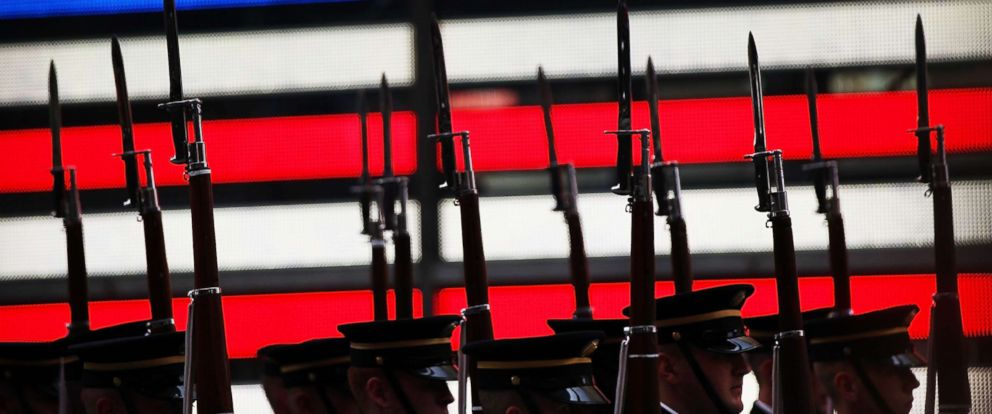 PHOTO: Members of the U.S. Army Drill Team perform in Times Square in New York City in honor of the Armys 240th birthday on June 12, 2015 in New York.