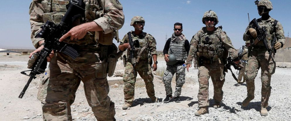 PHOTO: U.S. troops patrol at an Afghan National Army Base in Logar province, Afghanistan Aug. 7, 2018.