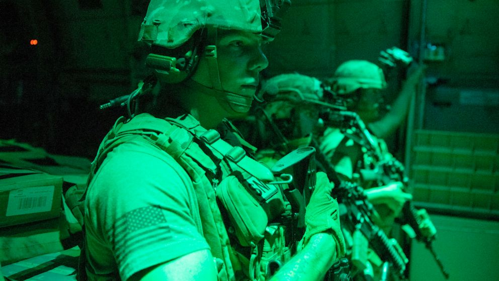 PHOTO: U.S. Army soldiers prepare to provide security during unloading operations in Somalia, July 10, 2020.