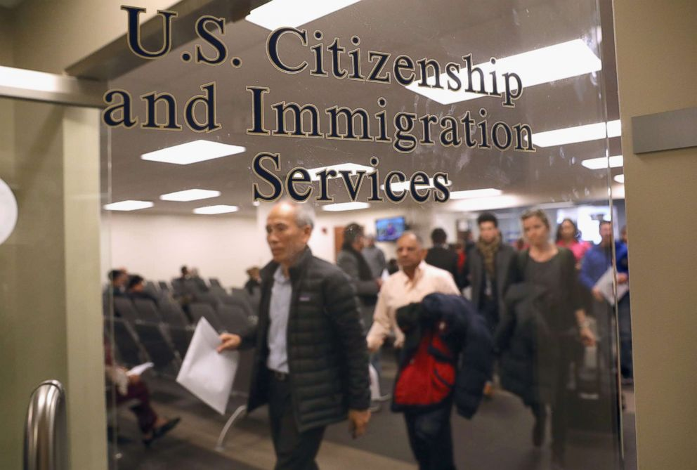PHOTO: Immigrants prepare to become American citizens at a naturalization service on Jan. 22, 2018 in Newark, N.J.