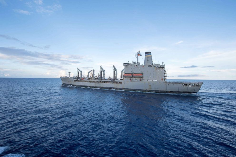 PHOTO: The Henry J. Kaiser-class fleet replenishment oiler USNS Pecos transits the South China Sea, May 19, 2017.