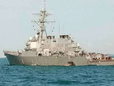 PHOTO: The USS John S. McCain after it collided with a commercial vessel east of Singapore on Aug. 20, 2017.