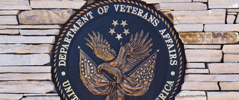 PHOTO: The seal of the United States Department of Veterans Affairs at the entrance to the Santa Fe National Cemetery in Santa Fe, May 27, 2019.