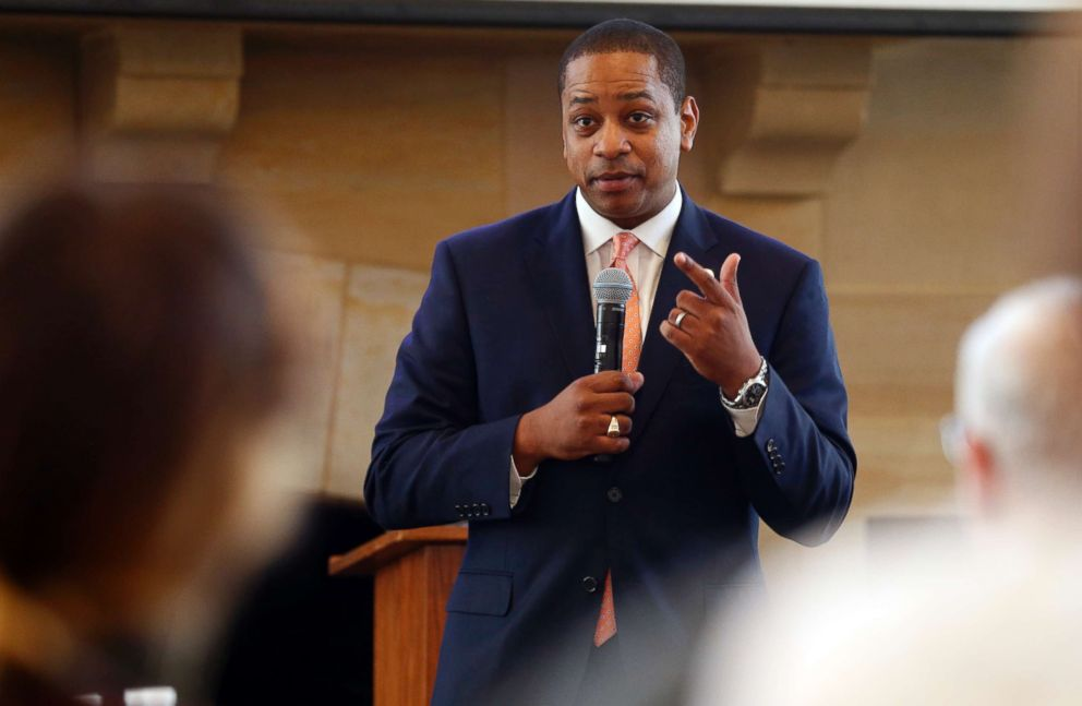 PHOTO: Virginia Lt. Gov. Justin Fairfax gestures during remarks before a meeting in Richmond, Va., Sept. 25, 2018.