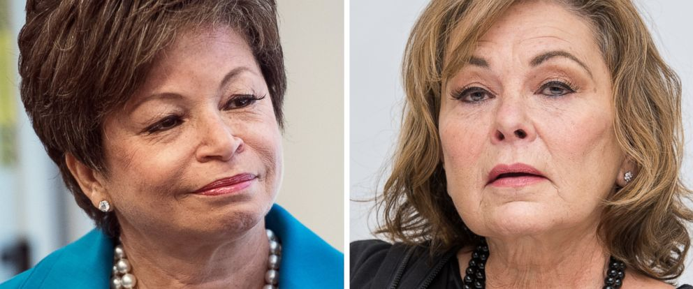 PHOTO: Valerie Jarrett speaks in Washington, May 31, 2017 and Roseanne Barr talks at a press conference in Beverly Hills, Calif., March 23, 2018.