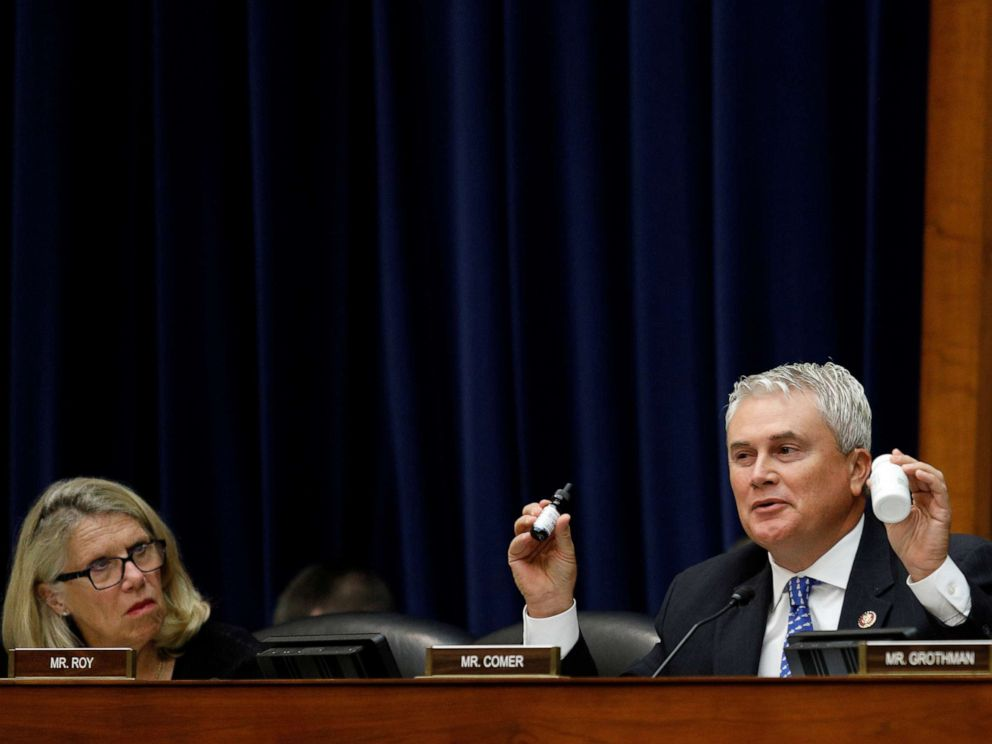 PHOTO: Rep. James Comer holds up CBD containers used for personal consumption before a House Oversight and Reform Economic and Consumer Policy Subcommittee hearing in Washington, Sept. 24, 2019.