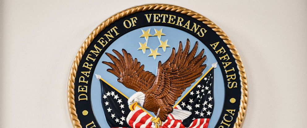 PHOTO: The logo of the U.S. Department of Veterans Affairs, Sept. 8, 2017, at the Department of Veterans Affairs office in Washington, D.C.