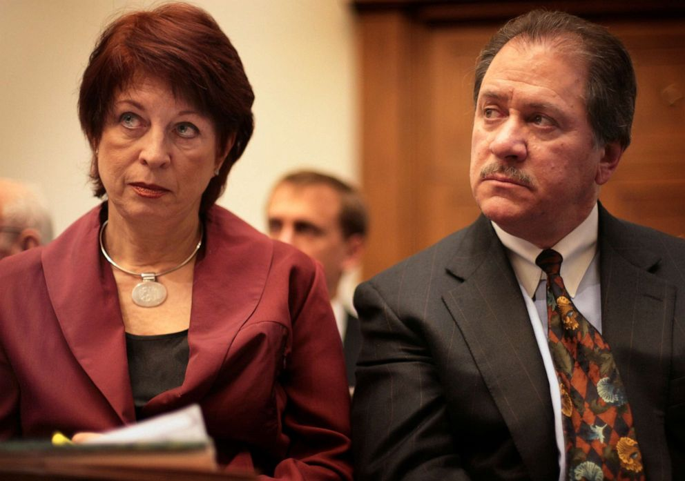 PHOTO: Victoria Toensing, left, and Joe diGenova listen to testimony before the House Oversight and Government Reform Committee on Capitol Hill on March 16, 2007.
