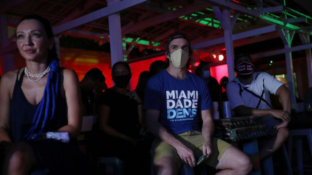 PHOTO: Dan Royles and other people watch at Gramps bar a streaming broadcast of the first debate between President Donald Trump and Democratic presidential nominee Joe Biden, Sept. 29, 2020, in Miami.