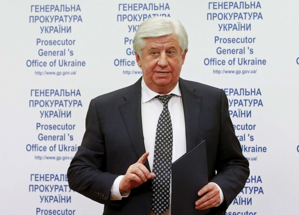 PHOTO: In this file photo, Prosecutor-General of Ukraine Viktor Shokin is shown speaking during a news conference on the arrest of Hennadiy Korban in Kiev, Ukraine, November 2, 2015.