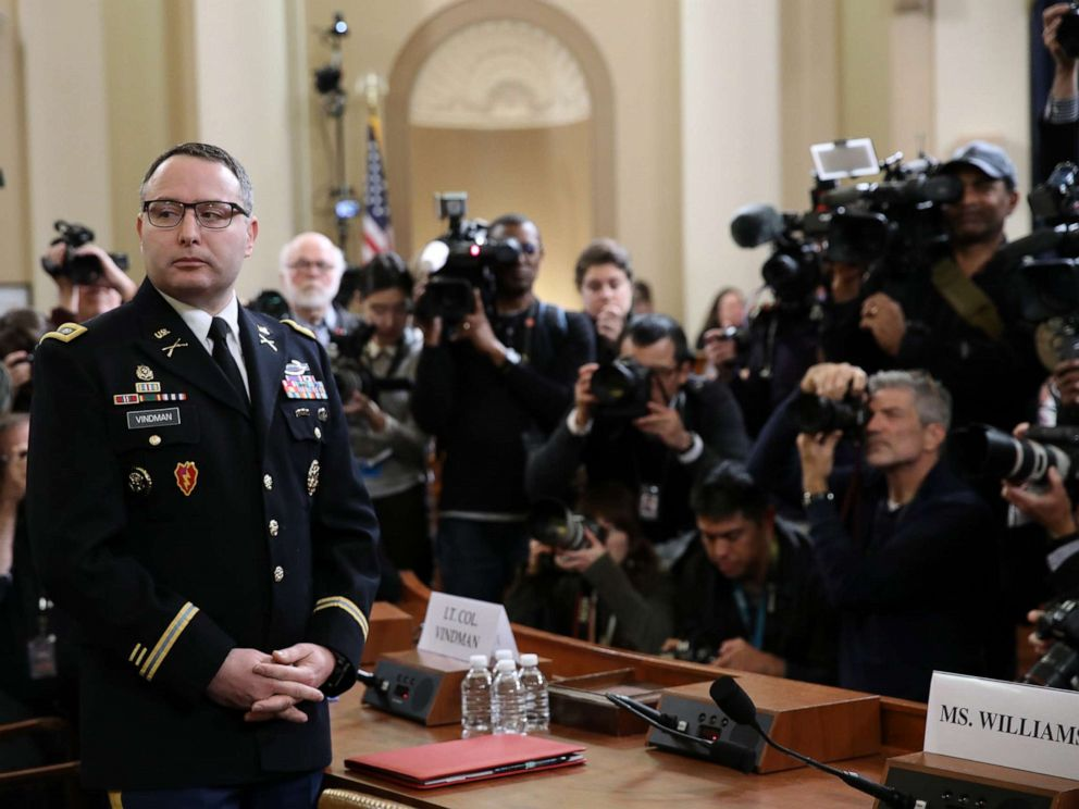 PHOTO: National Security Council Director for European Affairs Lt. Col. Alexander Vindman arrives to testify before the House Intelligence Committee in the Longworth House Office Building on Capitol Hill Nov. 19, 2019 in Washington, D.C.