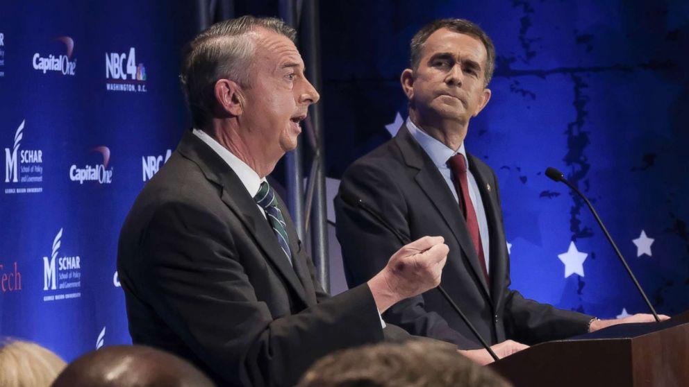 In this Sept. 19, 2017, file photo, Gubernatorial candidates Republican Ed Gillespie, left, and Democrat Lt. Gov. Ralph Northam debate in McLean, Va.
