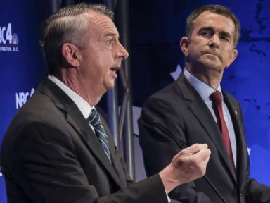 PHOTO: In this Sept. 19, 2017, file photo, Gubernatorial candidates Republican Ed Gillespie, left, and Democrat Lt. Gov. Ralph Northam debate in McLean, Va.