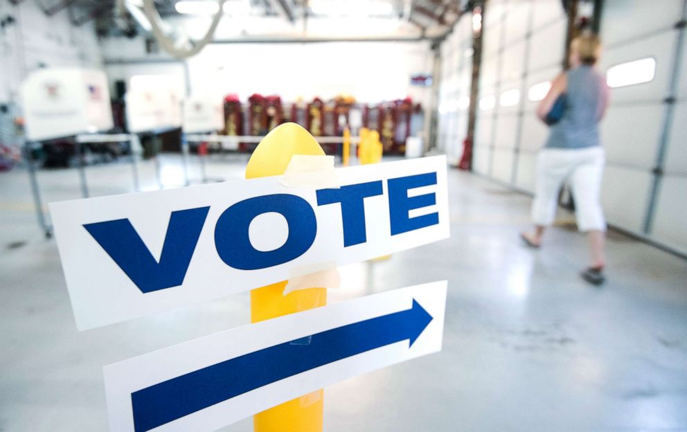 PHOTO: A voter arrives at the Philomont, Va., fire station in Virginias 10th Congressional district on primary election day in Virginia on June 12, 2018.
