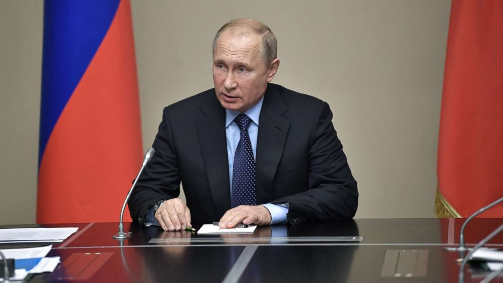 Russian President Vladimir Putin speaks as he holds a meeting with permanent members of the Security Council of the Russian Federation in his residence of Novo-Ogarevo outside Moscow, June 21, 2018.