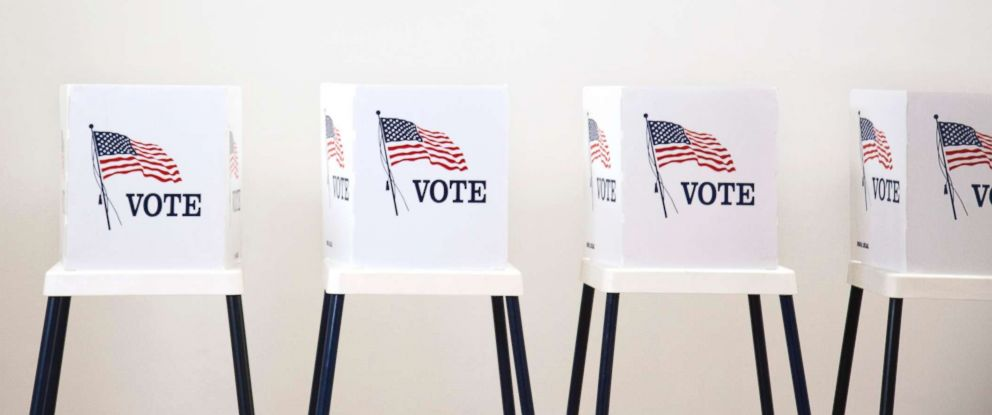 PHOTO: Voting booths in polling place are seen here.